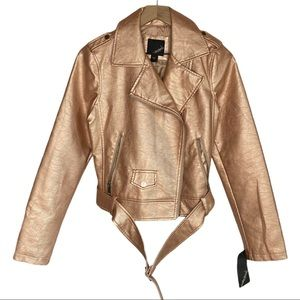 Collection B Vegan Leather Moto Jacket Rose Gold M